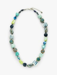 One Button Multi Bead Necklace Blue Mix