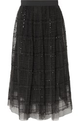 Brunello Cucinelli Sequin Embellished Embroidered Tulle Midi Skirt Gray Gbp