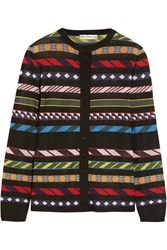 Mary Katrantzou Dax Jacquard Knit Cardigan Black