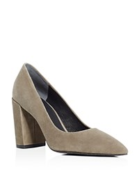 Kenneth Cole Margaux Pointed Toe Block Heel Pumps Elephant Gray