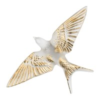 Lalique Hirondelles Swallow Wings Down Crystal Sculpture Clear And Gold