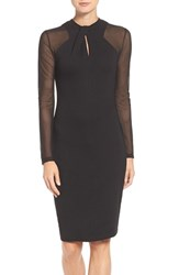 French Connection Women's 'Tania Tuck' Mesh Sleeve Sheath Dress