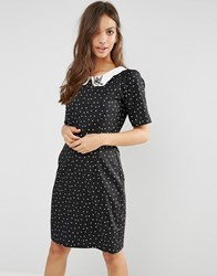 Trollied Dolly Shifty Sista Diamond Print Dress With Collar Detail Black Navy