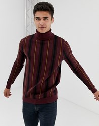 New Look Roll Neck With Vertical Stripe In Burgundy Red