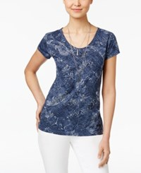 Style And Co Cotton Printed T Shirt Only At Macy's Blue Paisley