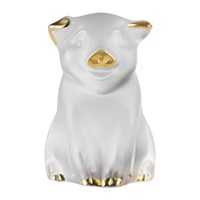 Lalique Pig Sculpture Clear And Gold