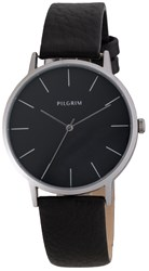 Pilgrim Simple Silver Plated And Black Watch Black