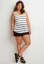 Forever 21 Striped Racerback Tank White Black