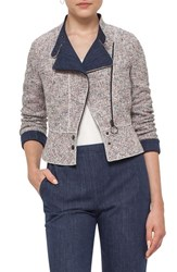 Akris Punto Women's Tweed And Denim Moto Jacket