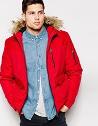 Asos Parka Jacket With Contrast Yoke In Red