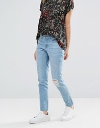 Blend She Lola Rigid Ripped Knee Jeans Light Blue Denim