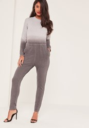 Missguided Grey Ombre Long Sleeve Jumpsuit