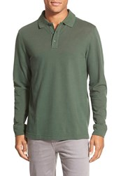 Men's Big And Tall Nordstrom Long Sleeve Pique Cotton Polo Green Pinecone