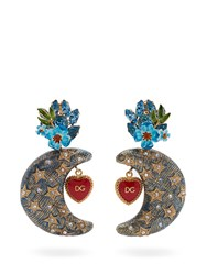 Dolce And Gabbana Crystal Embellished Moon Charm Clip On Earrings Blue