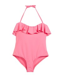 Milly Minis Ruffle Top One Piece Swimsuit Pink