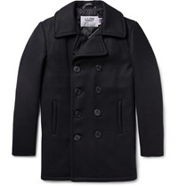 Schott Slim Fit Double Breasted Melton Wool Blend Peacoat Blue