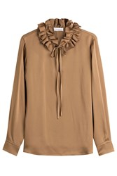 Sonia Rykiel Crepe Blouse With Ruffles Brown