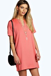 Boohoo Woven V Neck Open Back Shift Dress Coral