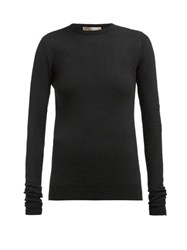 Bottega Veneta Intrecciato Tab Cashmere Blend Sweater Black