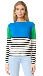 Chinti And Parker Colorblock Stripe Cashmere Sweater Teal Multi