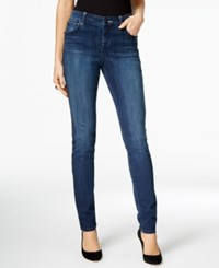 Inc International Concepts Curvy Embellished Dark Blue Wash Skinny Jeans Only At Macy's