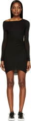 Helmut Lang Black Jersey Long Sleeve Slack Draped Dress