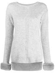 Max And Moi Contrast Cuff Sweater Grey