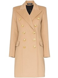 Balmain Double Breasted Wool And Cashmere Blend Coat Neutrals