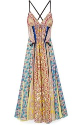 Etro Open Back Printed Silk Crepe Maxi Dress Pink