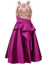 Marchesa Notte Embroidered Top Flared Dress Pink And Purple