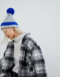 Brave Soul Sould Ribbed Hat With Faux Pom And Contrast Tipping In Electric Blue Grey Electric Blue
