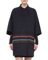 Akris Punto 3 4 Sleeve Cape W Multicolor Stripes Navy