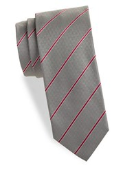 Hugo Diagonal Striped Silk Tie Grey