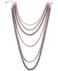 Guess Two Tone Multi Chain Layer Statement Necklace Rose Gold