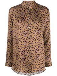 Paul Smith Ps Leopard Print Shirt Brown