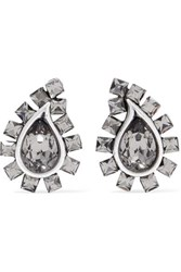 Etro Silver Tone Crystal Clip Earrings One Size