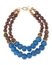 Akola Two Strand Wooden Bead Necklace Blue Brown