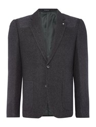 Peter Werth Men's Pilot Herringbone Cut And Sew Blazer Charcoal