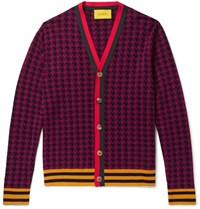 Gucci Webbing Trimmed Houndstooth Wool Cardigan Red