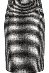 Iris And Ink Lauren Houndstooth Wool Blend Pencil Skirt Black