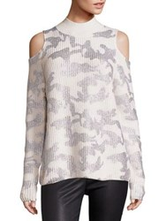 Zoe Jordan Hawking Wool And Cashmere Camo Cold Shoulder Sweater