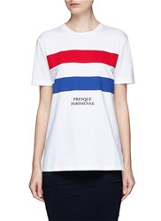 Etre Cecile 'Presque Parisians' Stripe Applique Cotton T Shirt Multi Colour