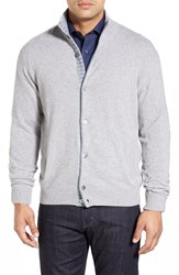 Men's Big And Tall Morgano Standard Fit Wool And Cashmere Cardigan Light Grey Light Blue