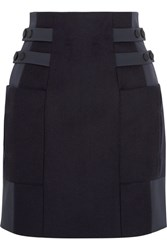 Topshop Unique Shell Paneled Wool Blend Mini Skirt Navy