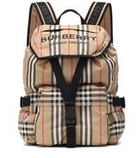 Burberry Icon Stripe Nylon Backpack Beige