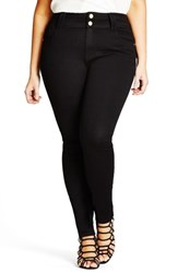 City Chic Plus Size Women's Asha High Waisted Skinny Jeans Black