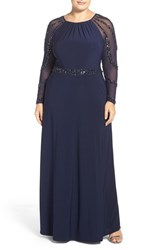 Marina Plus Size Women's Beaded A Line Jersey Gown Navy