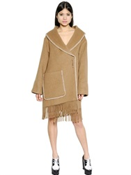Sportmax Fringed Double Breasted Camel Coat