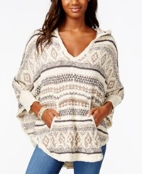 American Rag Striped Hooded Poncho Sweater Only At Macy's