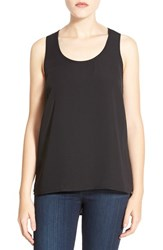 Petite Women's Halogen Scoop Neck Woven Tank Black